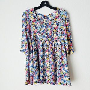 Free People Floral 3/4 Sleeve Babydoll Tunic - 0